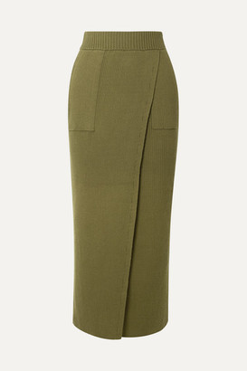 Mara Hoffman Net Sustain Elena Wrap-effect Ribbed Organic Cotton Skirt - Army green
