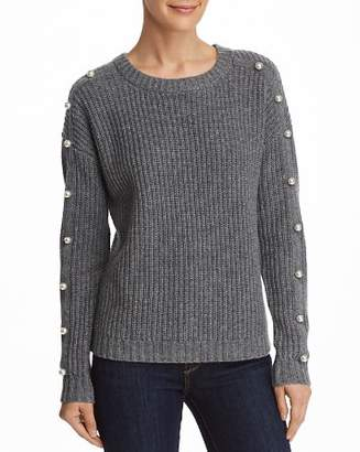 Aqua Embellished Shaker Stitch Cashmere Sweater - 100% Exclusive