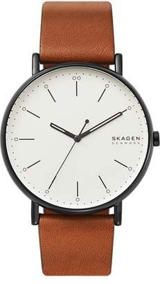 Skagen Signatur Leather Strap Watch, 45mm