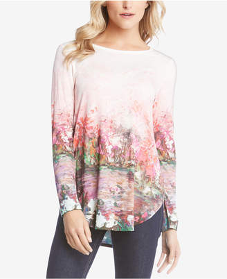 Karen Kane Floral-Print High-Low Top