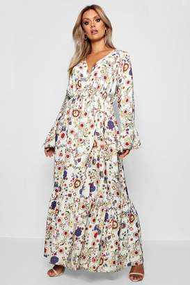 boohoo Plus Woven Floral Wrap Maxi Dress