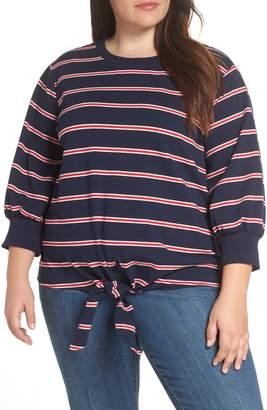 &.Layered Tie Front Crewneck Sweatshirt