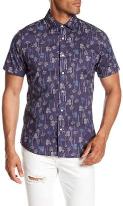 Slate & Stone Modern Fit Abstract Floral Print Button Short Sleeve Shirt