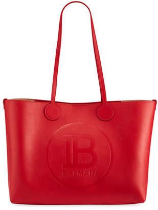Balmain Small Calfskin Leather Shopping Tote Bag