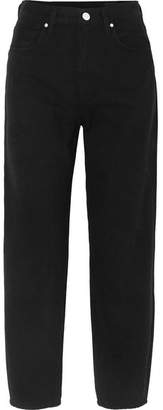 Gold Sign The Curved Cropped High-rise Tapered Jeans - Black