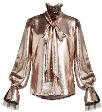 Harris Reed - Sequinned Tie Neck Blouse - Womens - Rose Gold