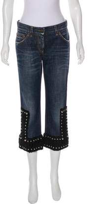 Dolce & Gabbana Fur-Trimmed Mid-Rise Jeans