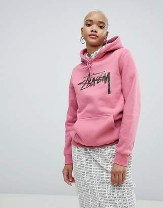 Stussy Oversized Hoodie With Camo Chest Logo