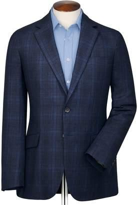 Charles Tyrwhitt Slim Fit Indigo Prince Of Wales Checkered Linen Mix Linen Jacket Size 38