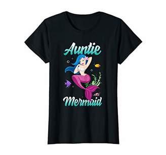 Womens Auntie Of The Mermaid T shirt Birthday Mermaid Gift Auntie