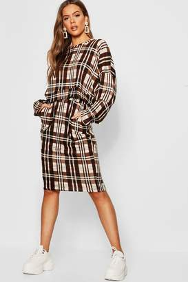 boohoo Checked Oversized Brushed Knit Sweat T-Shirt Co-Ord