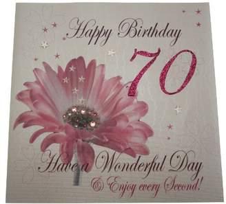 DAY Birger et Mikkelsen WHITE COTTON CARDS Code XLWBA70 Happy Birthday 70 Have A Wonderful Handmade Large Birthday Card Flower, Pink