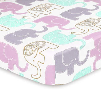 The Peanut Shell The Little Peanut Lilac Elephant Fitted Crib Sheet Bedding