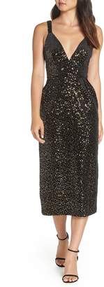 Jill Stuart Velvet & Sequin Embellished Midi Dress