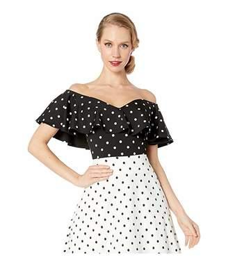 Unique Vintage 1950s Black White Polka Dot Off-the-Shoulder Ruffle Frenchie Top