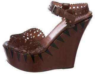 Alaia Laser Cut Leather Wedges