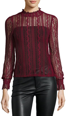 Romeo & Juliet Couture Sheer Stretch-Lace Long-Sleeve Top, Burgundy $69 thestylecure.com