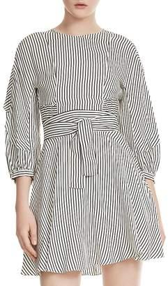 Maje Roxby Striped Smocked Dress