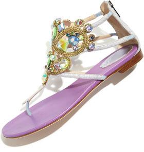 Rene Caovilla Chandelier Sea Stone Ankle-Wrap Flat Thong Sandal