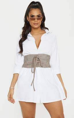 PrettyLittleThing Brown Prince Of Wales Check Corset Belt
