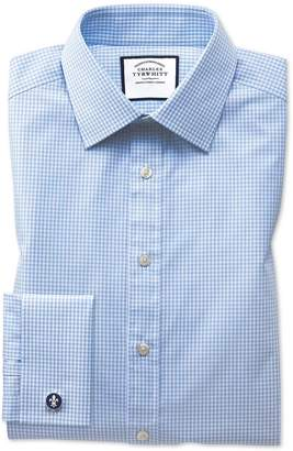 Charles Tyrwhitt Classic Fit Light Sky Blue Small Gingham Cotton Dress Shirt Single Cuff Size 15.5/33
