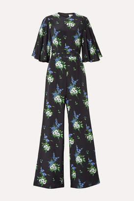 Les Rêveries Floral-print Silk Crepe De Chine Jumpsuit - Black