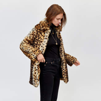 Warehouse Leopard Faux Fur Coat