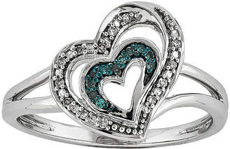 FINE JEWELRY White and Color-Enhanced Blue Diamond-Accent Double-Heart Ring