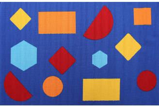 Shapes Blue Rubber Backed Kids Rug