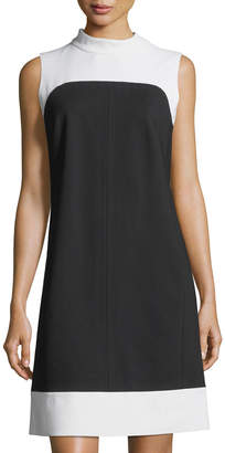 Lafayette 148 New York Mock-Neck Wool Colorblock Dress