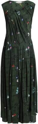 Preen Line Pleated Floral-print Jersey Maxi Dress