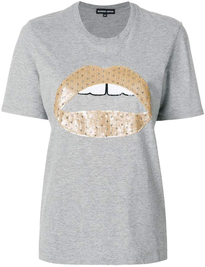Markus Lupfer Alex lips sequined t-shirt