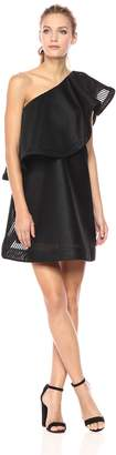 Halston Women's One Shoulder Flounce Stripe Mesh Dress