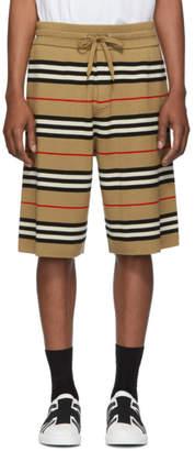 Burberry Beige Striped Merino Kenton Shorts