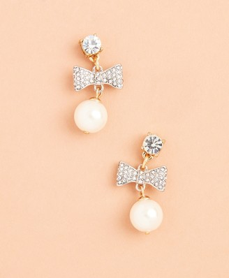 Brooks Brothers Glass Pearl and Rhinestone Bow Drop Earrings