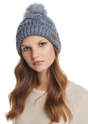 Barbour Bridport Faux Fur Pom-Pom Cable-Knit Beanie
