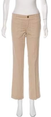 Tory Burch Straight Leg Mid-Rise Khakis