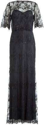 Catherine Deane Floor Length Dress with Embellished Lace Overlay Top