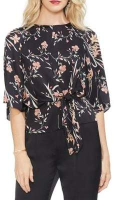 Vince Camuto Gilded Rose Bell-Sleeve Tie-Front Floral Blouse