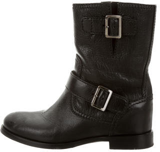 pradaPrada Leather Round-Toe Ankle Boots a