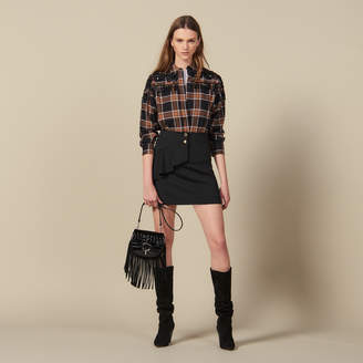 Sandro Short Skirt With Asymmetric Ruffle