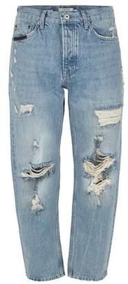 Topman Mens Blue Light Wash Original Ripped Jeans