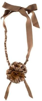 Lanvin Faux Pearl & Ribbon Flower Collar Necklace