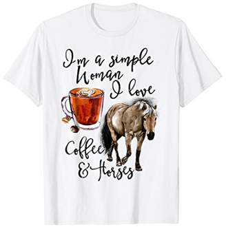 Cute I'm A Simple Woman I Love Coffee And Horses T-Shirt
