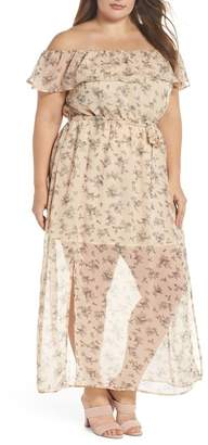 Glamorous Print Off-the-Shoulder Maxi Dress (Plus Size)