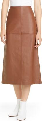 Lafayette 148 New York Pascoe Leather Midi Skirt