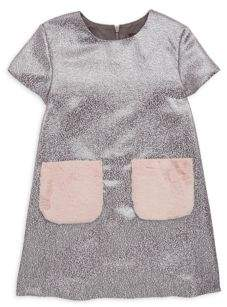 Imoga Little Girl's& Girl's Faux Fur Pocket Metallic Shift Dress