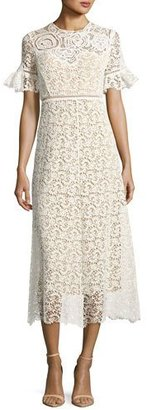 Rebecca Taylor Short-Sleeve Lace Midi Dress, White $975 thestylecure.com