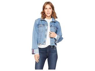 Vince Camuto Classic Cuff Bell Sleeve Fray Hem Jean Jacket