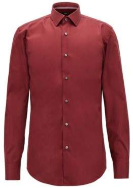 BOSS Hugo Easy-iron slim-fit shirt in Austrian cotton poplin 15.5 Dark Red